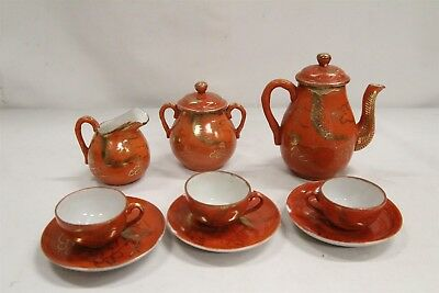 T Antique Porcelain Japanese Kutani Red Gold Dragons Mini Tea Set Cups SAVE ME
