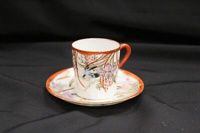 Antique Japanese Porcelain Kutani Sparrow Red Bird Cup & Saucer Set