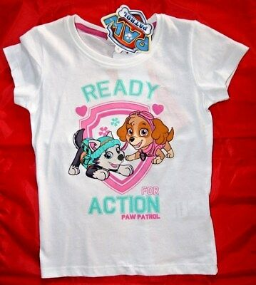 8646e033573df T-SHIRT BLANC FILLE 3 4 5 Ans Ready For Action Pals Paw Patrol Pat ...