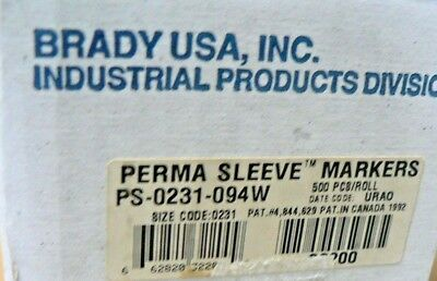 BRADY PS-0231-094-W PERMA SLEEVE MARKERS LS2000 Labeling System