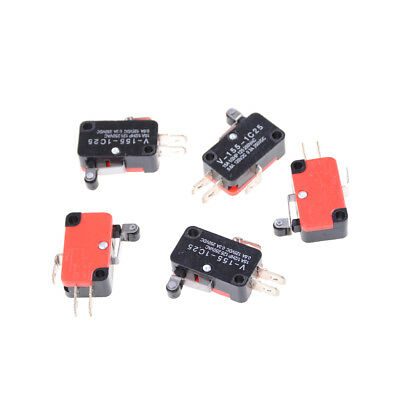 5Pcs SPDT V-155-1C25 Short Hinge Roller Lever Control Limit Micro Switch Pop UK