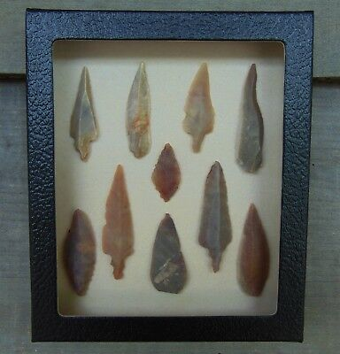 N1) 5X6 Framed Neolithic Uniface Artifacts display arrowheads points arrow heads