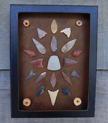 N6) 6X8 Framed Neolithic Artifacts display arrowheads points beads celt arrow