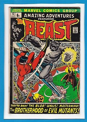 "Amazing Adventures #13_July 1972_Vg/f_Beast_""brotherhood Of Evil Mutants""_Uk!"