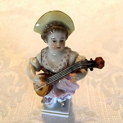 Meissen Porcelain Female Lute Player Figurine