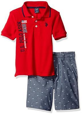 US Polo Assn Boys S/S Red Polo 2pc Short Set Size 2T 3T 4T 4 5/6 7