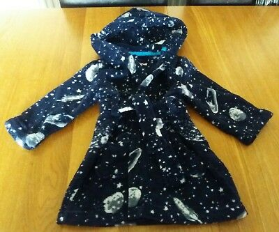 Baby Boys Navy Fleece Hooded Dressing Gown Age 18-24 Months Bluezoo