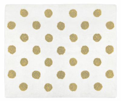 Gold Polka Dot Accent Floor Rug or Bath Mat for Watercolor Floral Collection