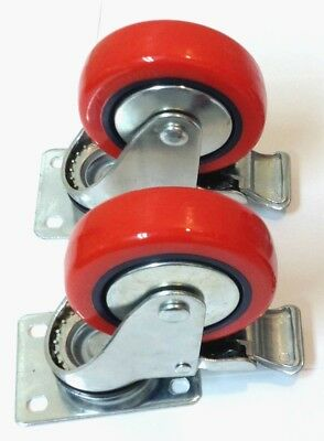 """Lot of (2) 4"""" Caster All Swivel Plate Red Polyurethane Wheels with Brake"""