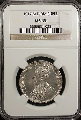 India 1 Rupee 1917 B NGC MS 63 UNC  Silver George V Bombay  Mint, Color Toning