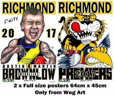 Richmond Tigers 2017 Clash Poster & FREE Dusty Brownlow Poster FREE POST IN AUST