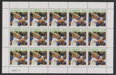 St Vincent - 1988, $3 I.T Botham Cricketer sheetlet - MNH - SG 1150