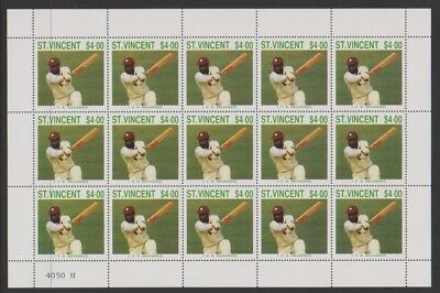 St Vincent - 1988, $4 I.V.A Richards Cricketer sheetlet - MNH - SG 1151