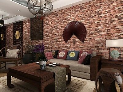 10m 3D Red Brick Print Theme Wallpaper