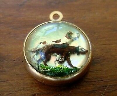 Vintage gold ENGLISH HUNTING DOG INTAGLIO ESSEX GLASS charm REVERSE CRYSTAL #1