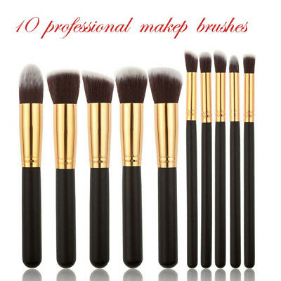 Pro Makeup 10pcs Brushes Set Powder Foundation Eyeshadow Blush Brush Tool Kit