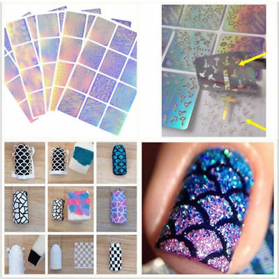 24Pcs Sheets Nail Art Hollow Stencil Template Stickers DIY Manicure Tool Stamp