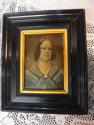 Antique Portrait Oil On Board Dated 1842 & Signed  French