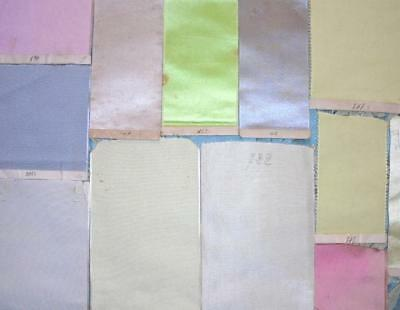 12 BEAUTIFUL ANTIQUE VICTORIAN SILK TRADESMANS RIBBON SAMPLES WITH LABELS c1870s