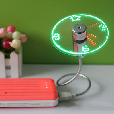 Funny LED Clock Fan Mini USB Powered Cooling Flashing Real Time Display Function