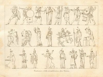 ANCIENT GREECE. Civil & military dress & costumes 1832 old antique print