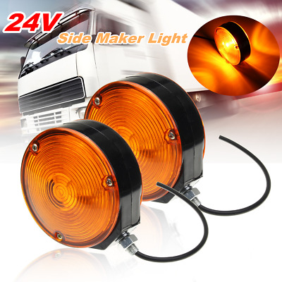 2X Truck Trailer Lorry Lollipop Earring Amber/Orange Mirror Side Maker Light 24V