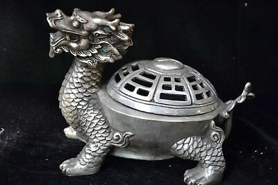 Collectible old Antique tibet silver carve kylin chinese Statue incense burner