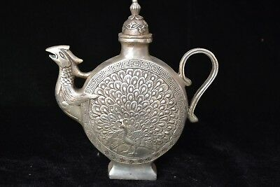chinese old Antique tibet silver carve peacock handwork Statue rare big teapot