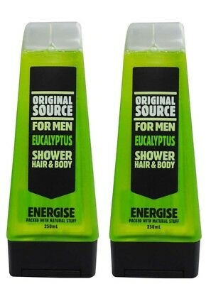 2 X Original Source 250Ml Shower Gel For Men Energise Eucalyptus - New