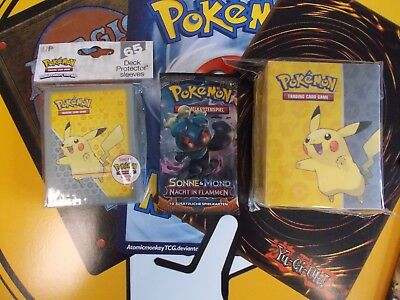 POKEMON PIKACHU DECKBOX + SLEEVES ovp ULTRA PRO + 1 POKEMON BOOSTER DEUTSCH