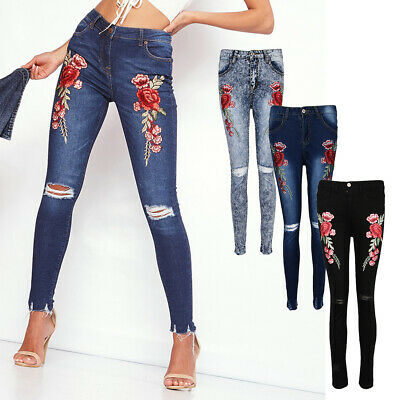 Vintage Women's Rose Embroidery Ripped Jeans Stretch Skinny Distressed Pants