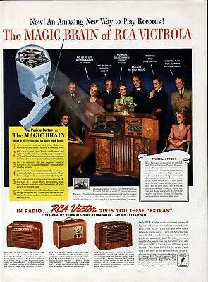 1942 RCA Victrola Magic Brain Phonograph Radio Ad
