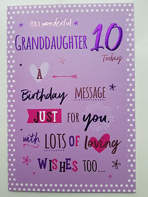 For A Wonderful Granddaughter On Your 10th Birthday Card