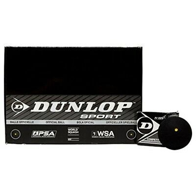 Dunlop Competition Squash Balls Tube Of 12 - Yellow Dot Pack Wsa Wsf Player Psa
