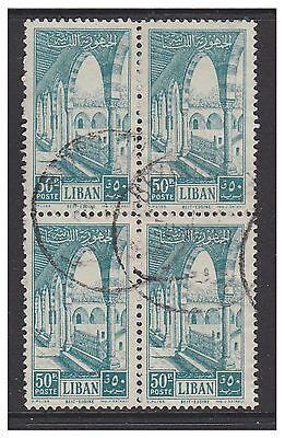 Lebanon - 1954, 50p Palace stamp in a block of 4 - G/U - SG 489