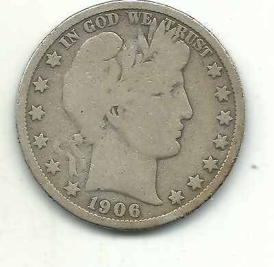 A Vintage Very Good Vg Condition 1906 D Barber Silver Half Dollar-Apr521