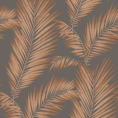Precious Metails Ardita Leaves Wallpaper - Copper / Grey - Arthouse 673000 New