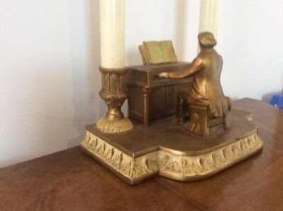 Antique Signed 1932 Hand painted Cast Metal Lamp Piano Man Double Light