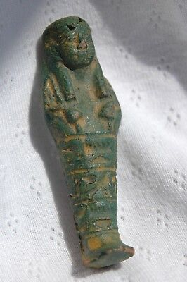 Egyptian Shabti Dark Green Glazed Faience Moulded Carved Hieroglyphics 6 cm