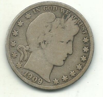 A Very Good Vg Condition 1909 S Inverted S Barber Silver Half Dollar-Apr526