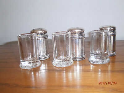 Antique Vintage Silverplate Salt & Pepper Shakers Glass Insert Small 3 Beaded