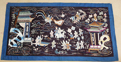 Antique Large Chinese Silk Embroidery Textile Panel
