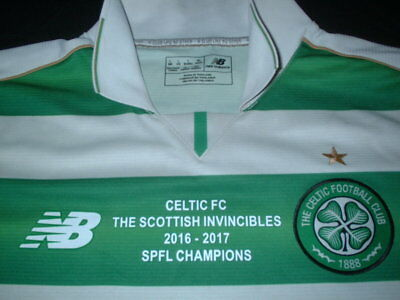 Celtic Scotland Soccer Football Large Mans Invincibles 2016-2017 Home Jersey