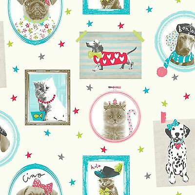 Glitter Hall Of Fame Dogs & Cats Wallpaper Cream Arthouse 668400 Room Wall Decor