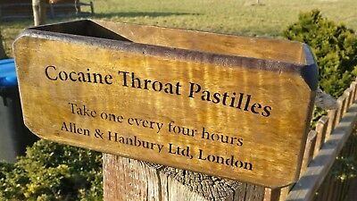 COCAINE Throat Pastilles Wooden Box  Antiqued Vintage Style Crate Small