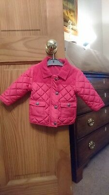 Baby Girls NEXT Pink Quilted Classic Cut Jersey Lined Jacket Size 6-9 Months