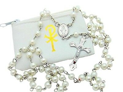 Girls My Holy First Communion Faux Pearl Bead Rosary with White Zipper Case