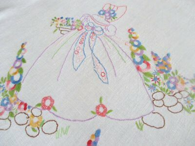 Vintage Tablecloth Hand Embroidered Crinoline Ladies - Linen
