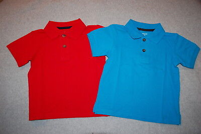 Toddler Boys 2 LOT S/S POLO SHIRT Solid Red BRIGHT TURQUOISE BLUE Size 2T