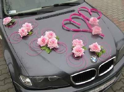 LUXURY WEDDING CAR DECORATION KIT set 2 pink hearts & roses FREE door ribbon